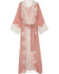 Rosamosario | Pink Sweet Sumatra Metallic Lace-trimmed Silk-georgette Robe | Lyst