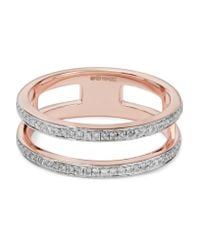 Monica Vinader | Multicolor Skinny Double Band Rose Gold Vermeil Diamond Ring | Lyst