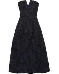 Roland Mouret | Blue Aldrich Strapless Linen-blend Cloqué Midi Dress | Lyst