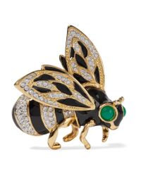 Kenneth Jay Lane | Metallic Gold-plated, Crystal And Enamel Brooch | Lyst