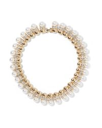 Kenneth Jay Lane | Metallic Gold-plated, Crystal And Faux Pearl Necklace | Lyst