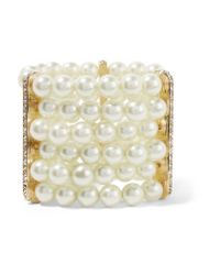 Kenneth Jay Lane - Metallic Faux Pearl, Crystal And Gold-plated Bracelet - Lyst