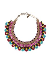 Etro | Purple Gold-tone, Bead And Wood Necklace | Lyst