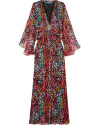 Matthew Williamson | Red Akita Embellished Printed Silk-chiffon Maxi Dress | Lyst