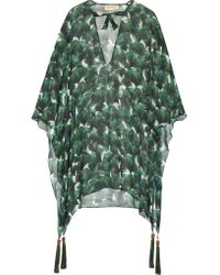 Adriana Degreas | Green Ginkgo Tassel-trimmed Printed Silk-chiffon Kaftan | Lyst