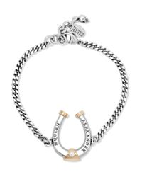 Alexander McQueen | Metallic Ruthenium And Gold-plated Swarovski Pearl Bracelet | Lyst