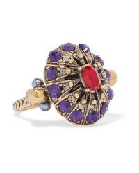 Alexander McQueen - Metallic Gold-tone Crystal Ring - Lyst