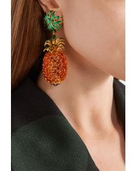 Dolce & Gabbana - Metallic Gold-plated, Enamel And Crystal Clip Earrings - Lyst