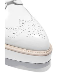 Prada - White Leather Platform Brogues - Lyst