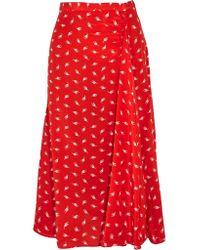 Miu Miu | Red Printed Silk Crepe De Chine Midi Skirt | Lyst