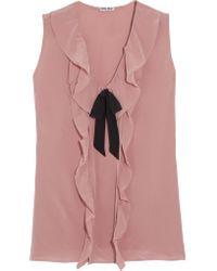 Miu Miu | Pink Pussy-bow Ruffled Silk Crepe De Chine Blouse | Lyst