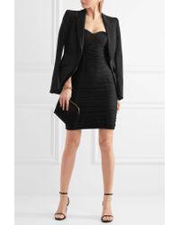 Balmain - Black Ruched Stretch-knit Mini Dress - Lyst