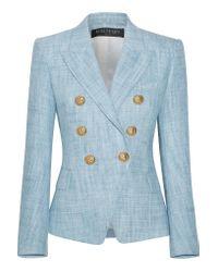 Balmain | Blue Cotton-blend Tweed Blazer | Lyst