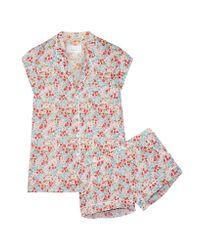 Three J Nyc | Red Olivia Floral-print Cotton-poplin Pajama Set | Lyst