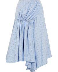 J.W. Anderson | Blue Asymmetric Striped Silk Crepe De Chine Skirt | Lyst