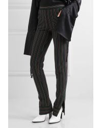 J.W.Anderson - Black Striped Cotton-crepe Skinny Pants - Lyst