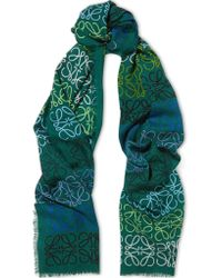 Loewe | Green Intarsia Wool, Silk And Cashmere-blend Scarf | Lyst