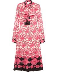 Gucci | Pink Pussy-bow Pleated Printed Silk Crepe De Chine Dress | Lyst