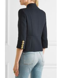 Balmain - Blue Embroidered Cotton-twill Jacket - Lyst