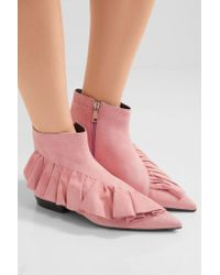 J.W.Anderson - Pink Ruffled Suede Ankle Boots - Lyst