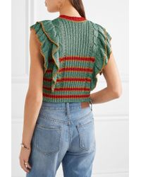 Philosophy Di Lorenzo Serafini - Blue Cropped Metallic Knitted Sweater - Lyst