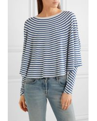 MM6 by Maison Martin Margiela - Blue Striped Stretch-jersey Top - Lyst