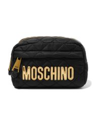 Moschino | Black Metallic Faux Leather-trimmed Quilted Shell Cosmetics Case | Lyst