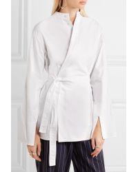 Joseph - White Andy Cotton-poplin Wrap Shirt - Lyst