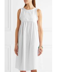 Three Graces London | White Alexas Whipstitched Cotton-poplin Dress | Lyst