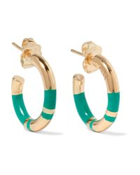 Aurelie Bidermann | Metallic Positano Enameled Gold-plated Hoop Earrings | Lyst