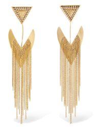 Erickson Beamon | Metallic Smoking Jacket Gold-plated Swarovski Crystal Earrings | Lyst
