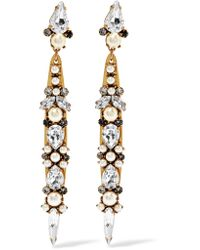 Erickson Beamon | Metallic Born Again Gold-plated, Swarovski Crystal And Faux Pearl Earrings | Lyst