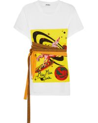 Miu Miu - White Bow-embellished Printed Cotton-jersey T-shirt - Lyst