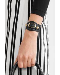 Balenciaga   Black Arena Textured-leather And Gold-tone Bracelet   Lyst