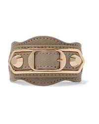 Balenciaga | Natural Metallic Edge Textured-leather And Gold-tone Bracelet | Lyst
