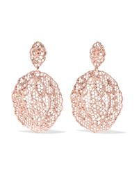 Aurelie Bidermann - Pink Lace Rose Gold-plated Earrings - Lyst