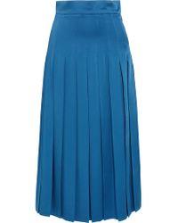 Fendi - Blue Pleated Cady Midi Skirt - Lyst