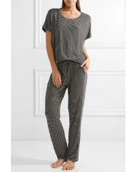 Eberjey | Black Toni Striped Stretch-jersey Pajama Pants | Lyst