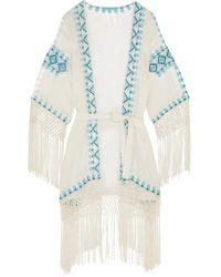 Melissa Odabash - White Dana Embroidered Voile Robe - Lyst