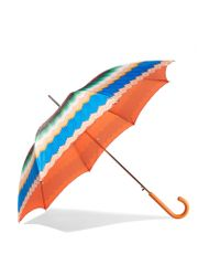 Missoni - Blue Leather-trimmed Printed Umbrella - Lyst
