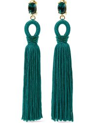 Oscar de la Renta | Green Tasseled Silk, Gold-tone And Swarovski Crystal Clip Earrings | Lyst