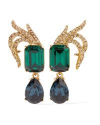 Oscar de la Renta   Metallic Gold-plated Swarovski Crystal Clip Earrings   Lyst