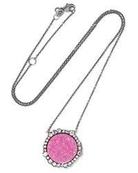 Kimberly Mcdonald | Metallic 18-karat White Gold, Rhodium-plated, Cobalto Calcite And Diamond Necklace | Lyst