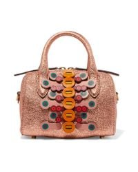 Anya Hindmarch - Multicolor Vere Mini Laser-cut Appliquéd Metallic Textured-leather Tote - Lyst