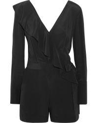 Diane von Furstenberg - Black Ruffled Wrap-effect Silk Crepe De Chine Playsuit - Lyst