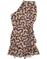 Isabel Marant | Natural Lavern One-shoulder Ruffled Printed Cotton And Linen-blend Mini Dress | Lyst