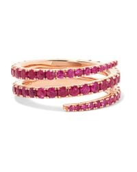 Anita Ko | Multicolor Coil 18-karat Rose Gold Ruby Ring | Lyst