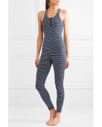 Olympia - Blue Olympus Striped Stretch-jersey Bodysuit - Lyst