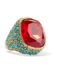 Kenneth Jay Lane - Red Gold-plated, Crystal And Cabochon Ring - Lyst