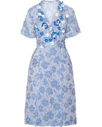 Miu Miu - Blue Floral-appliquéd Silk-blend Cloqué Wrap Dress - Lyst